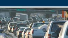 Cover of 2018 Pollution Report showing heavy traffic on the freeway.