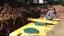 A septic system being installed