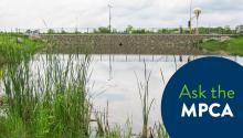 """A still, reflective stormwater pond surrounded by cattails and long grass next to a roadway with an """"Ask the MPCA"""" graphic in the lower right corner."""