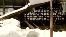 collapsed barn roof
