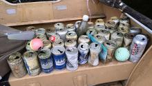 Beer cans in lake