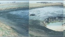 Karst caused this breach of a City of Bellechester wastewater lagoon in 1992, showing the importance of thorough underground investigation prior to constructing liquid storage areas in southeast Minnesota. –photo courtesy Calvin Alexander, Univ. of Minn.