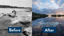 Before side of photo is black and white showing a man digging in a river bank of paper mill waste. The after side is color and shows beautiful still water reflecting the clouds.