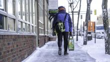 person carrying grocieries iin cold weather