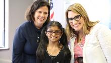 Commissioner Laura Bishop, Numa Zahra, and Lt. Governor Peggy Flanagan