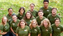 Small group of young people wearing Minnesota Green Corps t-shirts