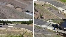 Photo caption: These four photos show the efforts and successful installation of stormwater collection and filtration features to provide a better boat landing and future health of Island Lake.