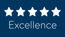 Five white stars and the word Excellence on a blue background