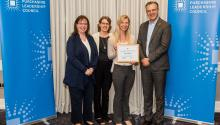 ustainable Procurement Team Members Melissa Peck and Madalyn Cioci (MPCA) and Betsy Hayes (Department of Administration) receive a 2019 Outstanding Case Study Award from the Sustainable Purchasing Leadership Council for increasing the environmental and so