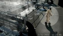 An alleged Wipesquatch leaving a wastewater treatment plant