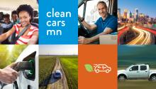 clean car minnesota logo, photos of people driving, city and rural driving scenes
