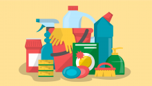 Illustration of common household cleaning products