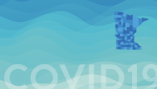 Water and waves artwork with State of Minnesota shape and the words covid 19