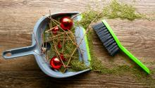 A green hand broom on the floor next to a blue dustpan with broken red ornaments, pine needles, and sticks.