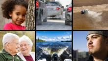 Collage of photos including a young African-American girl, cars emitting exhaust on a street, a tractor emitting exhaust, an elderly white couple, a boat motor on the back of a boat on a lake, a middle aged Hispanic man.