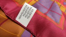 Polyester tag on clothing