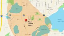 Map showing Water Gremlin location between I-35E and White Bear Lake