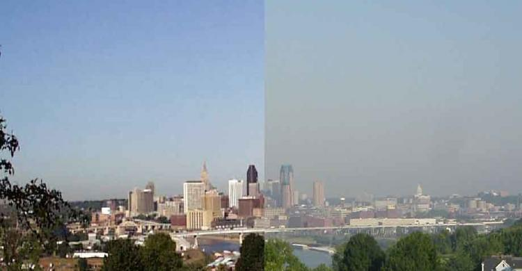 Photo of Twin Cities skyline, half showing clear air and the other half shrouded in smoky, unhealthy air