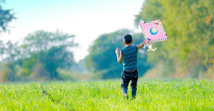 Young boy in a grassy field pulling a kite behind him