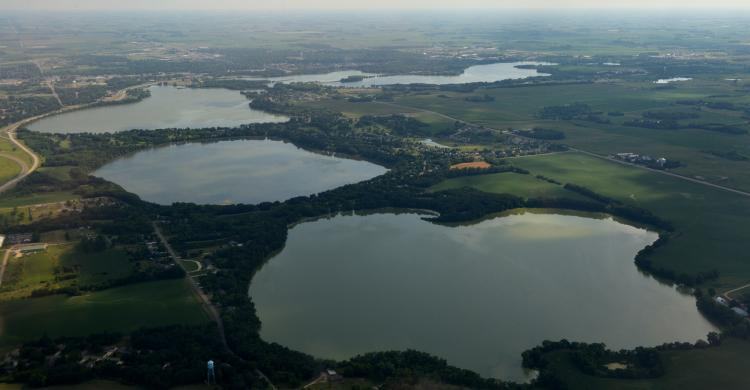 aerial photo of the Willmar Chain of Lakes