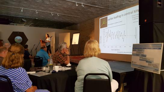 University of Minnesota Forest Resources professor Rebecca Montgomery sharing information on trends in plant and animal phenology.