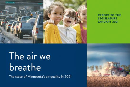 Air We Breathe report cover with photos of traffic, children outdoors, and a tractor plowing a field.