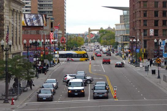 Downtown minneapolis - lightrail, cars, and buses