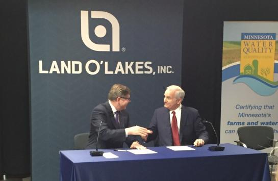 Gov. Mark Dayton and Land O'Lakes, Inc. President and CEO Chris Policinski, announced a new public-private partnership to protect and improve water quality across Minnesota.