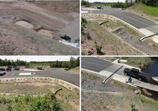 These four photos show the efforts and successful installation of stormwater collection and filtration features to provide a better boat landing and future health of Island Lake.