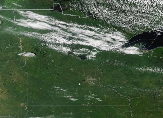 Satellite image showing high cloud cover over northern Minnesota.
