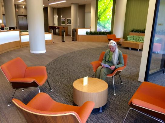 The MPCA's front lobby uses green materials to reduce its impact on the environment