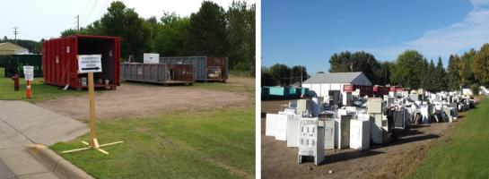 Following 2016 summer flooding, the MPCA established a temporary solid waste transfer station in Sturgeon Lake (left), and at the Waseca County fairgrounds (right) to collect and dispose of debris left behind by flood waters.
