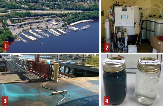Photo 1) Sunnyside Marina from above the St. Croix River, 2) the wash water treatment and recycling system, 3) wash water flowing on wash pad before system installation, and 4) collected wash water before treatment (left jar) and recycled water (right).