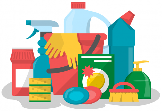 Illustration of cleaning products