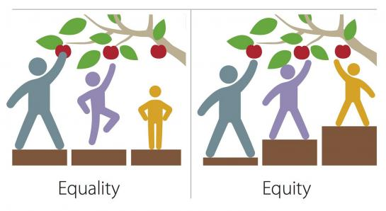 Equality shows a tall, medium, and small figure standing on boxes of equal height reaching for apples. The small and medium figures cannot reach the apples. Equity shows the same figures standing on boxes adjusted for height. All can reach the apples.