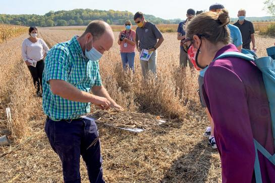 A man in a blue and green plaid shirt holds a white board with a pile of dried vegetation to explain the importance of crop residue to a group of people standing in a farm field.