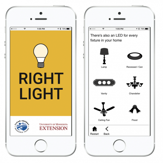 The Right Light App is a free resources that helps people pick out the perfect energy-efficient LED light bulb. The app was created by the Clean Energy Resource Teams and University of Minnesota Extension.