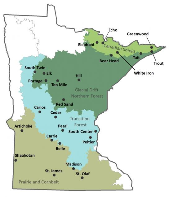 Map of Minnesota showing 4 major land types and locations of 25 Sentinel Lakes