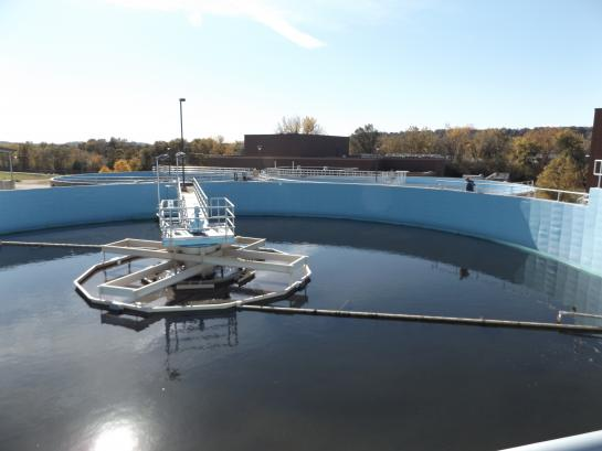 Inside view of a wastewater treatment pond