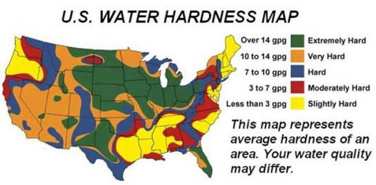 Map of water hardness in the United States