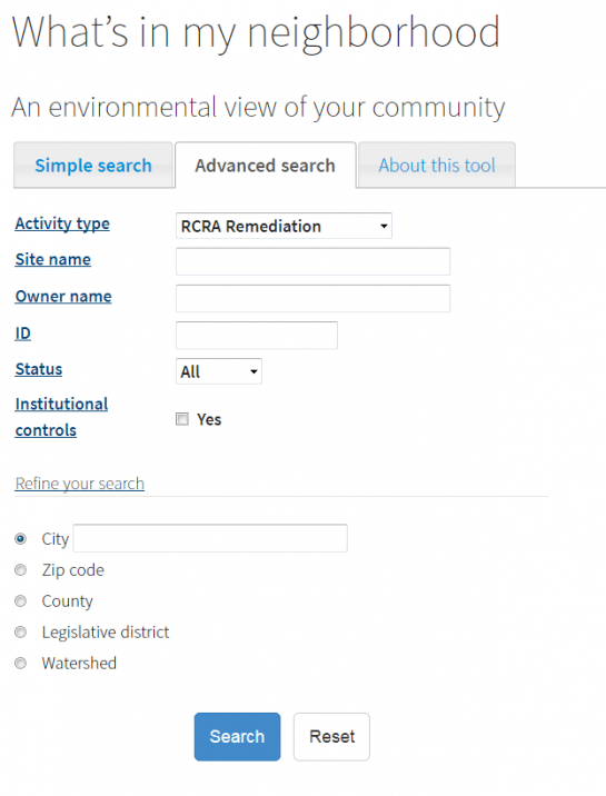 Search for RCRA Remdiation sites using MPCA's What's In My Neighborhood database.
