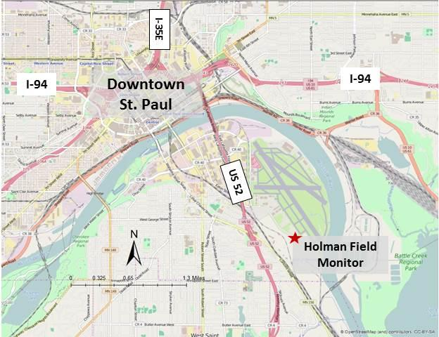 Map of downtown St. Paul, covering I-94, I-35E, and US 52