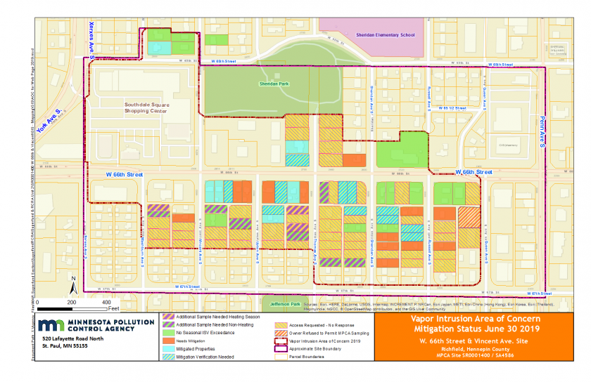Map of area near West 66th Ave and Vincent showing which properties have been and will be tested, and which properties have mitigation equipment installed.