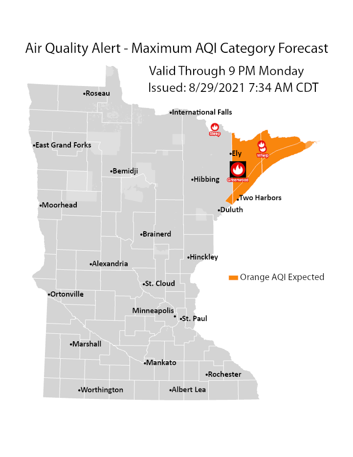 Map showing area of MN that is under an air quality advisory or alert.