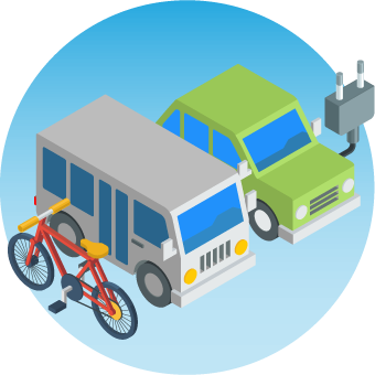 Icon showing a bike and electric vehicles