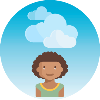 Icon showing a smiling child under a blue sky with white clouds