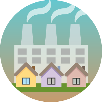Icon showing small houses in front of a factory with smoke stacks