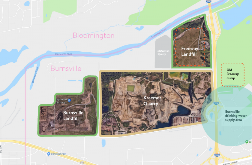 Map showing the Burnsville landfill's proximity to Kraemer Quarry, the freeway landfill, the old freeway dump, and the Burnsville drinking water supply area