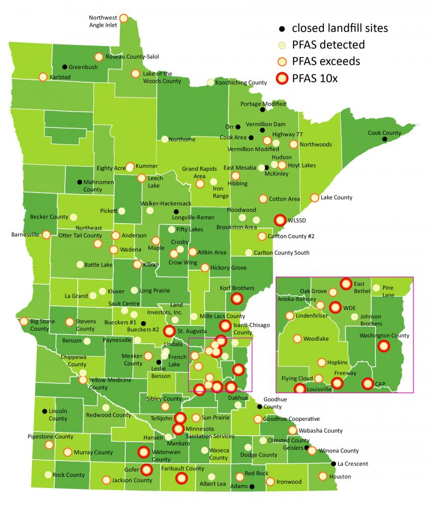 Map of Minnesota. Black dots represent closed landfill sites. White dots indicate sites where PFAS has been detected. Red circles indicate sites where PFAS levels exceed health standards. Few sites show no PFAS.