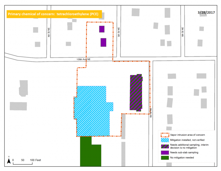 Map of the Crest Cleaner site and adjacent area